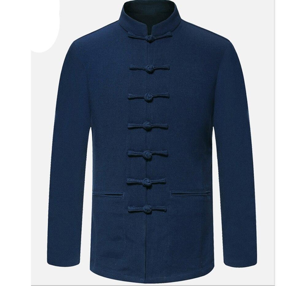 Parte de arriba de color azul, nueva llegada, chaquetas de botón de bobina hechas a mano para hombres tradicionales chinos, abrigos M L XL XXL 3XL MTJ2015027
