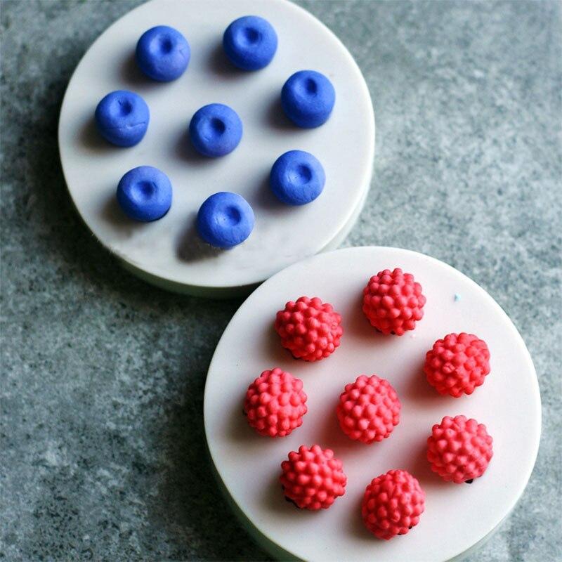 1 Uds 3D fruta 8 agujeros Mini arándano Mulberry silicona pastel molde Chocolate Decoración Comida grado silicona para jabón molde DIY Cocina