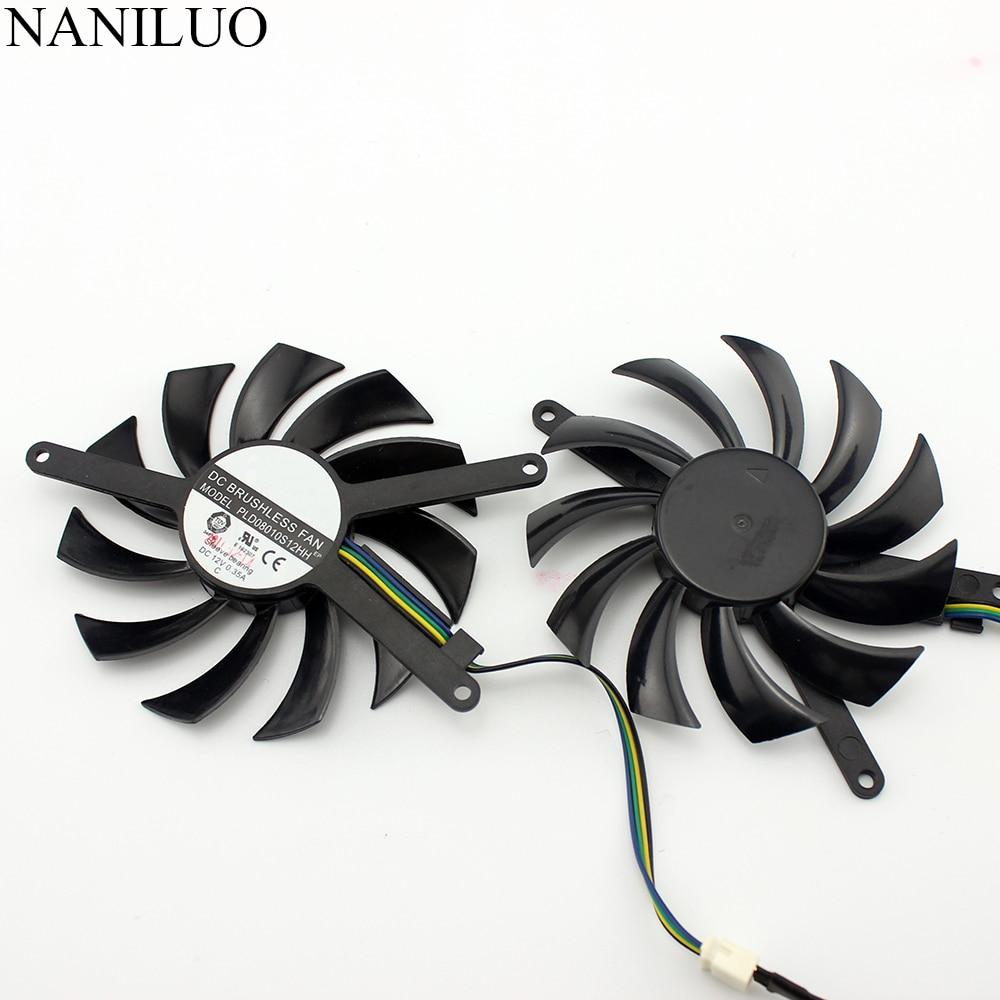 NANILUO 2Pcs/lot  75mm PLD08010S12HH For EVGA GTX 460 GTX 560 TI 580 4Pin 12V 0.35A Graphics Video Card VGA Cooler
