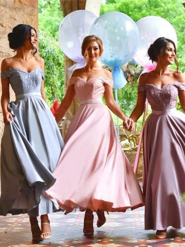 Robes de demoiselle dhonneur pas cher moins de 50 une ligne hors de lépaule en mousseline de soie dentelle cheville longueur robes de fête de mariage pour les femmes-dans la mariée