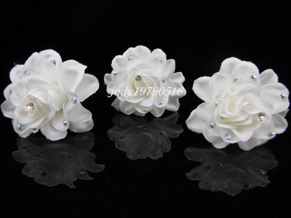 20 Pcs White Flower Crystal  Bridal Wedding Prom Hair Pins  Hair Clip Free Shipping