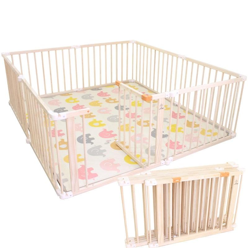 Dobrável playfence bebê ao ar livre indoor cerca de jogo de madeira maciça crianças parque infantil do bebê criança playhouse play yards cerca de segurança
