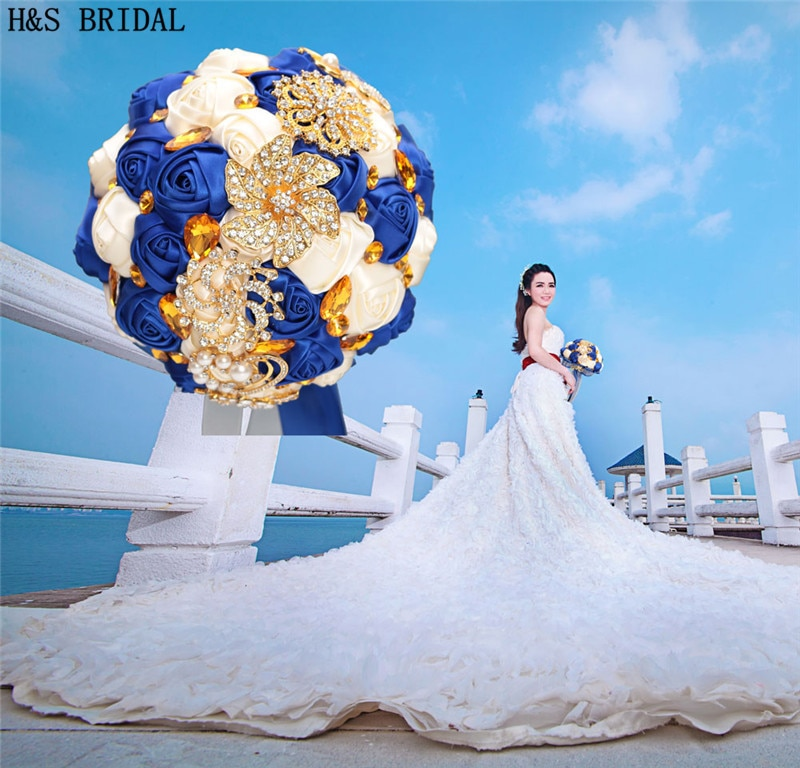 Azul real Flor de boda lujo oro Rhinestone flores para novia para boda auténtica foto de boda ramo novia dama de honor