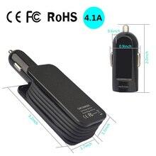Chargeur de voiture universel 4 Ports USB adaptateur de Charge de voiture 1M câble 5V 4.1A pour iPhone Samsung Xiaomi Huawei LeEco LETV