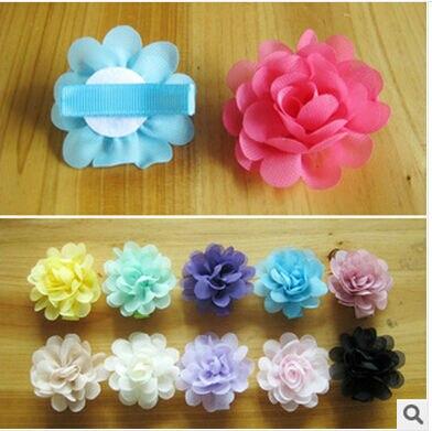 2017 children Hair Accessories Moth Orchid Flower Silk Decoration kids Flower With Clip Headbands headwear 15 Colors 30pcs/lot