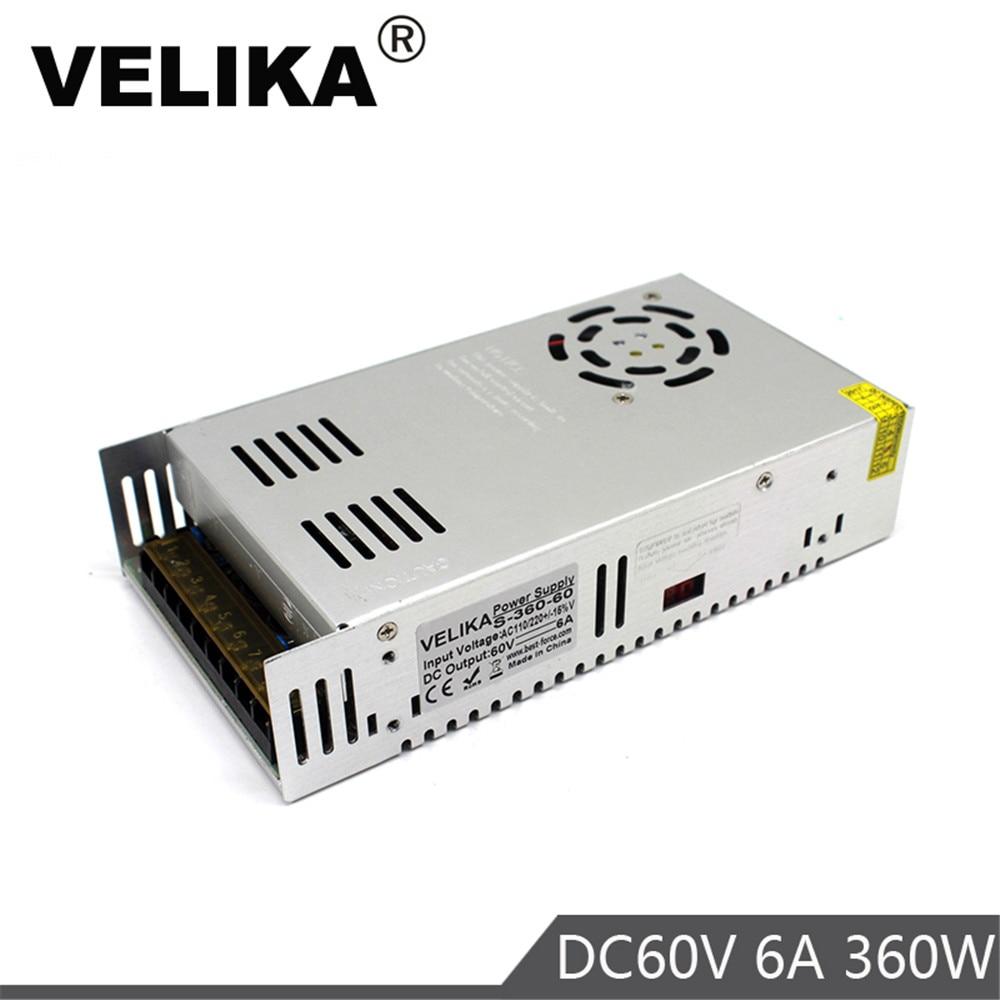 Salida única DC60V de transformadores de controlador 110V 220V AC DC 60V 6A 360W SMPS para CNC CCTV paso a paso Mptors luz impresora