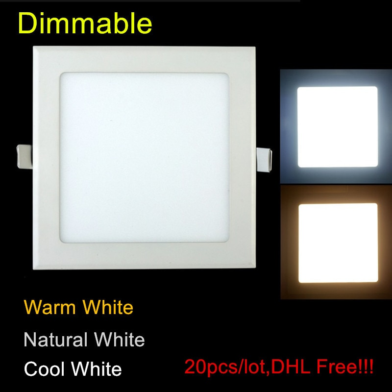 20 teile/los Dimmbar ultradünne 3 Watt/4 Watt/6 Watt/9 Watt/12 Watt/15 Watt/25 Watt LED Deckeneinbau Gitter Downlight/Schlanke Quadratische Platte licht