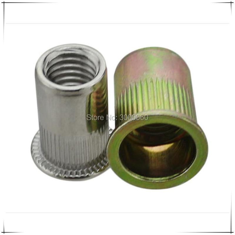 Купить с кэшбэком Metric Size Color Zinc Plated Steel Knurled Body Flat Head Rivet Nut 100pcs/lot