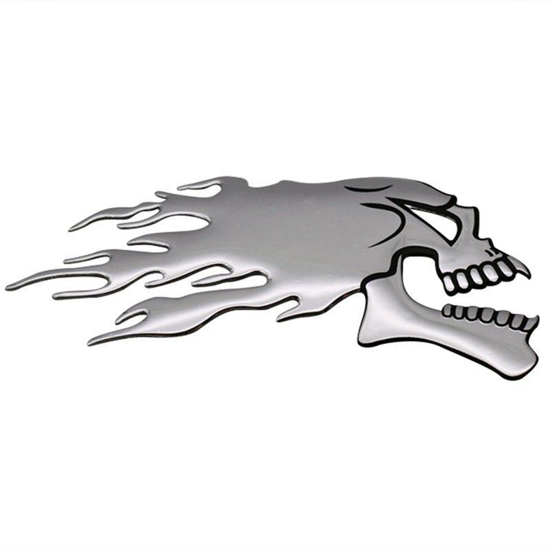 2Pcs/Pair 3D Chrome Ghost Skull Head Auto Motorcycle Car Sticker Emblem Decals For Haley Honda Yamaha Kawasaki Suzuki 14.5x5.5cm