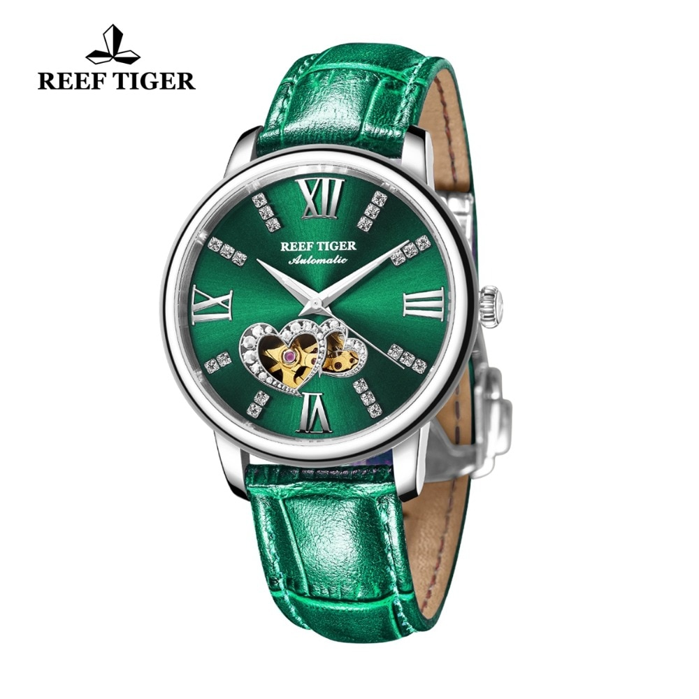 Reef Tiger/RT 2021 New Design Fashion Ladies Watch Rose Gold Green Dial Mechanical Watch Leather Band Montre Femme RGA1580 enlarge