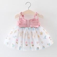 Summer Toddler Baby Girls Strap Print Tulle Dresses Cute Kids Girl Patchwork Princess Dresses Infant Clothes vestido de ninas