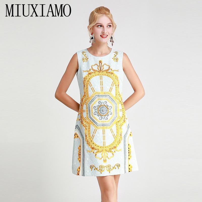 MIUXIMAO 2019 Fashion Runway Design Fall Casual Dress Women's Sleeveless Tank Luxury Diamonds Vintage Dress Women vestidos