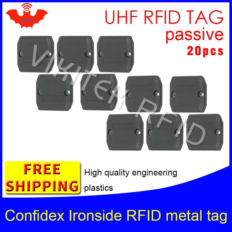 Confidex ironside UHF RFID tag do metal 868 m Impinj Monza4QT 20 pcs frete grátis ABS durável de longa distância passiva EPC etiquetas RFID