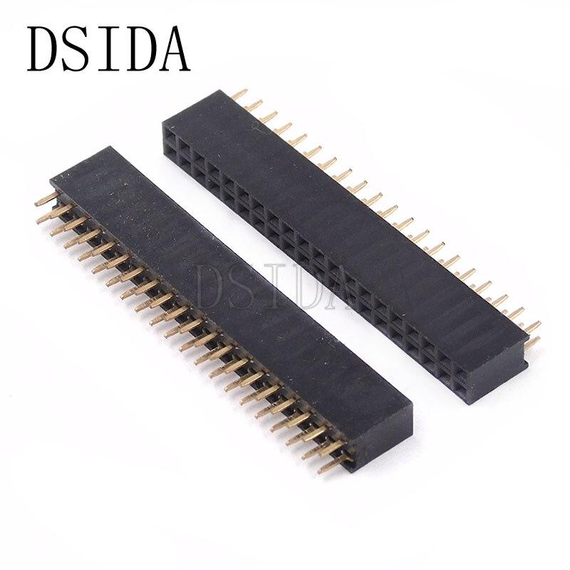 10 unids/lote Pin hembra de 20 pines de paso de 2,54mm de doble fila conector hembra 2x20 2*20 conector PCB