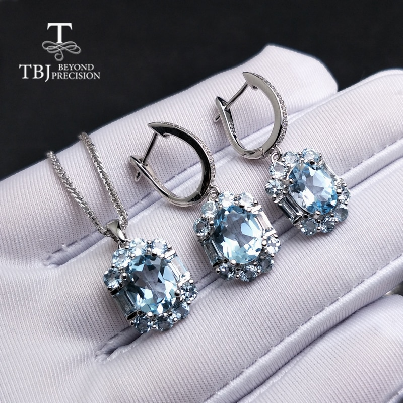 Get TBJ,natural sky blue topaz gemstone jewelry set in 925 sterling silver elegant special pendant earring for women lady as gift