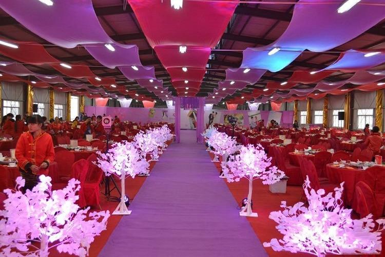 Cortinas de techo de boda rojo y morado para decoración de tela de boda 16 m de longitud x 1,4 m de ancho evento partido de la decoración de la