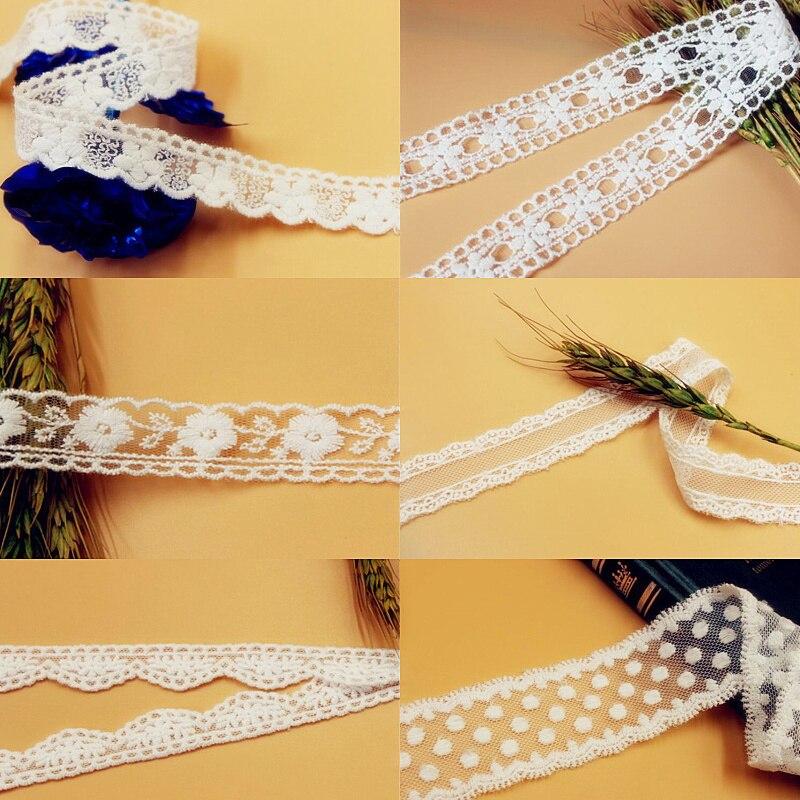 Lazos de encaje de doble cara de algodón bordado de encaje 14 Yds Off borde blanco ojal de malla DIY accesorios de ropa 2 cm-10 cm