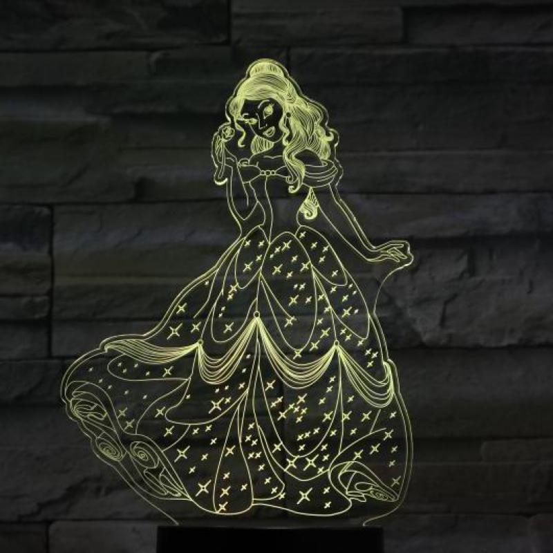 Lámpara Led nocturna con Usb 3d para decoración de niños y niñas, regalo para bebé, lámpara de mesa con 7 colores que cambian, lámpara de princesa Bella para dormitorio