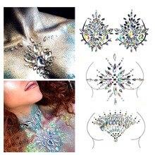 women Sexy party Crystal Chest Jewels Temporary Tattoo Sticker Body Jewels Stage RhinestoneTattoos Adhesive Jewel Gem Jewelry