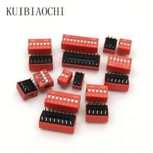 Interrupteur coulissant Type rouge   Lot de 10, 2.54mm pas 2 rangée de commutateurs à bascule plongeante, interrupteur de cadran 2p 3p 4p 5p 6p 8p 10p