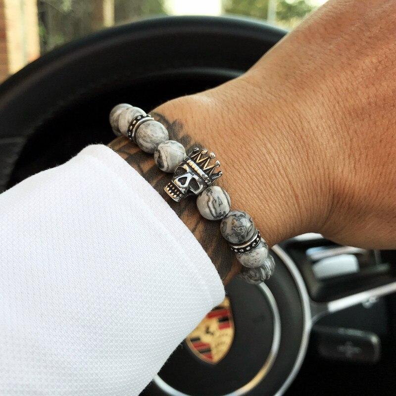 bracelet men skull bracelet men steel bracelets skull gray natural stone beads charm bracelets & bangles tokyo men  jewelry gift