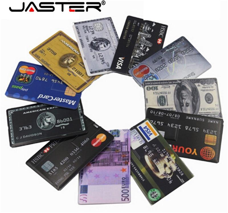 JASTER Hot Selling Bank Card USB Flash Drive HSBC Master Credit Cards Memoria Usb 2.0 4GB 8GB 16GB 32GB 64GB Business Gift