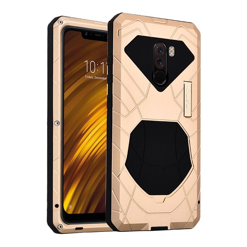 IMATCH-جراب هاتف Xiaomi Mi Pocophone F1 ، جراب واقٍ من الألومنيوم الصلب ، مقاوم للصدمات ، أصلي