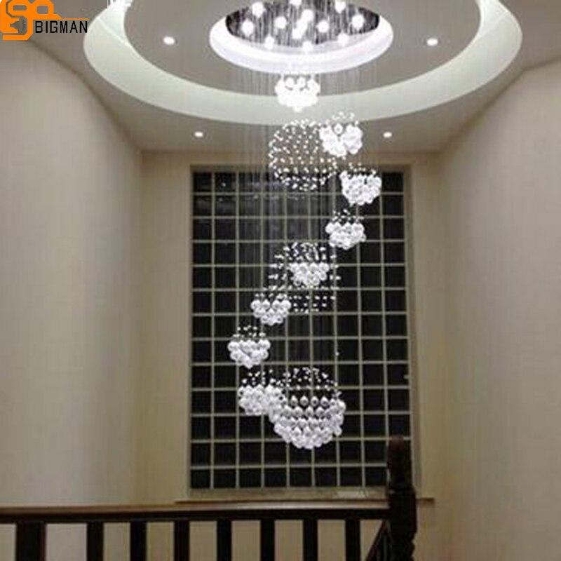hot selling modern large crystal chandelier AC110 220V lustre staircase light Dia80*H280cm