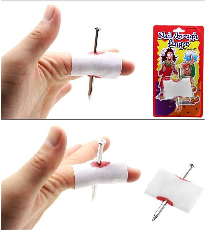 5 pièces blague blague jouet faux ongles à travers le doigt Halloween enfants enfants sang artificiel avec pansement avril fou tour accessoire effrayant jouet