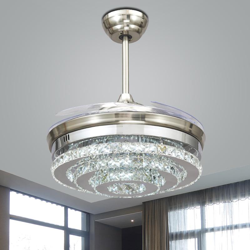 LED nordique Invisible cristal ventilateurs de plafond lumières chambre pliant plafonnier ventilateur télécommande Ventilador de teto