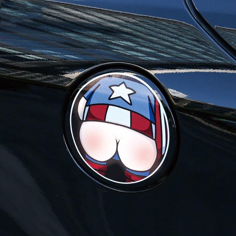 Auto 3D Gas pegatina para tapa de depósito tapa de tanque de combustible de coche cubierta de la puerta calcomanía de camión de coche pegatina creativa de dibujos animados Linda impermeable etiqueta 12cm