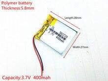 3.7 V 400 mAH 582728 PLIB polymère lithium ion/Li-ion batterie pour montre intelligente, GPS mp3, mp4, téléphone portable, DVD, haut-parleur