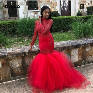 Black Girls African Red Mermaid Prom Dresses 2019 Long Sleeves Beads Appliques High Neck Tiered Floor Length Tulle Party Evening
