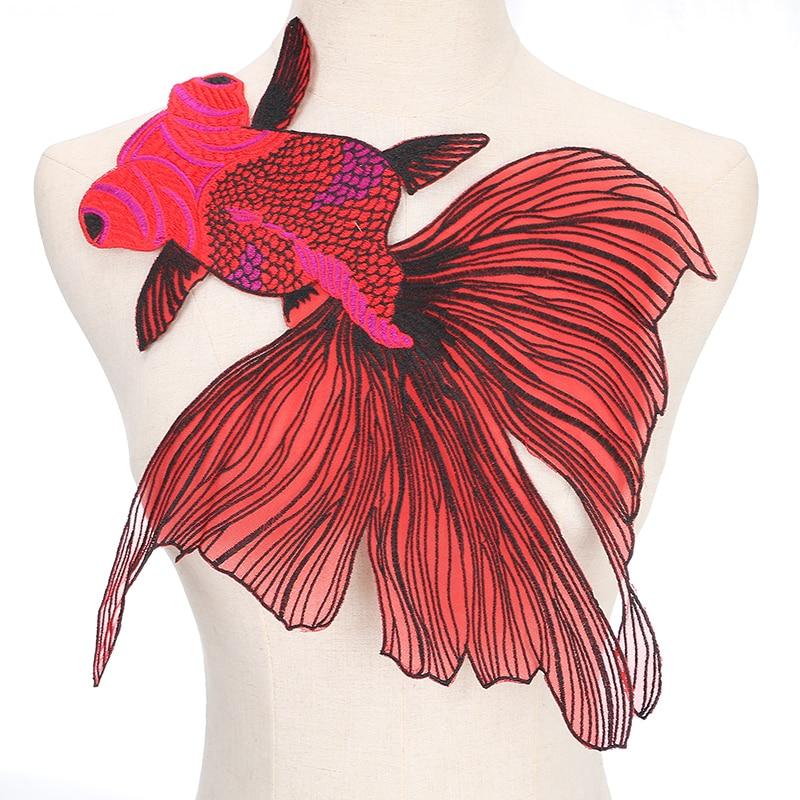 Parches bordados de animales de pez rojo coser en la ropa DIY diseño de la suerte chino parche bordado apliques