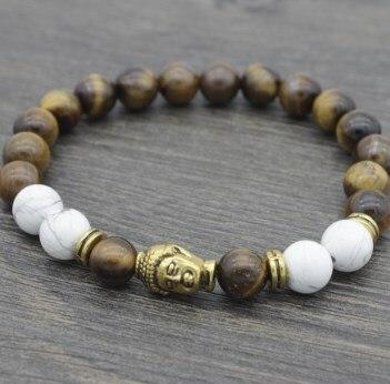 Pulsera de cuentas de piedra de ojo de tigre amarilla ajustada de 8mm yhj424 Reiki Buddha cabeza de oración encanto cuerda brazaletes de howlita blanca