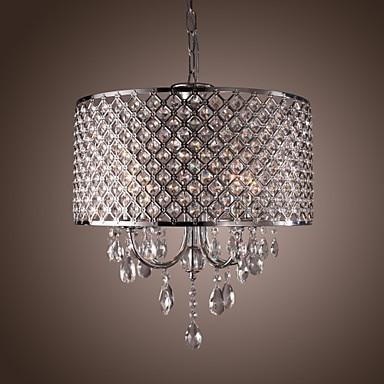 LED Modern Crystal Pendant Lamp with 4 Lights For Dining Room Hanging Light Luminaire Lustre De Cristal