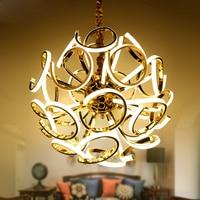Modern Gold Luxury Metal Creative Circular Pendant Light Led Lamp For Dining Room Home Bedroom Restaurant American LED Chip
