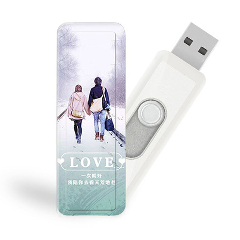 Customized USB Flash Drive 32GB 64GB PenDrive 2.0 16GB 4GB 8GB Pen Drive Memory Stick U Disk For Couple Wedding Gift
