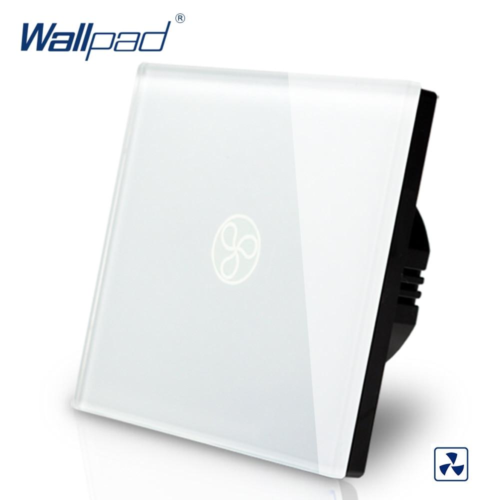Wallpad-مفتاح حائط ذكي يعمل باللمس ، معيار الاتحاد الأوروبي/المملكة المتحدة ، 110-250 فولت تيار متردد ، منظم سرعة المروحة ، أبيض ، 110-250 فولت