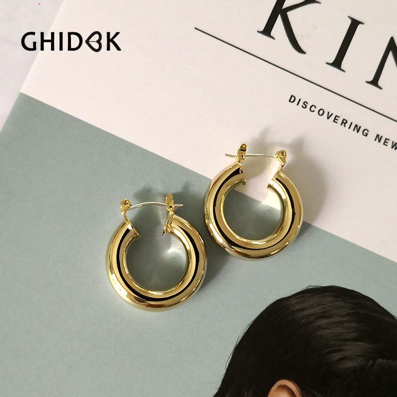 GHIDBK de oro Pequeño anillo de declaración pendientes minimalista grueso Pendiente de Círculo elegante moderno aro joyería de aretes al por mayor