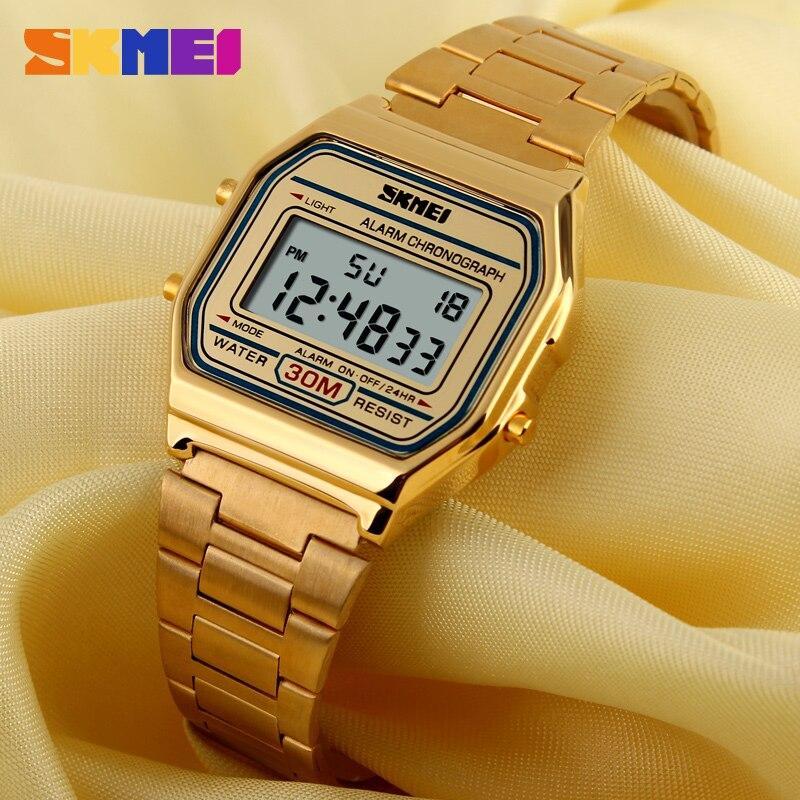 Мужские и женские цифровые спортивные часы SKMEI, водонепроницаемые армейские часы из нержавеющей стали, 1123