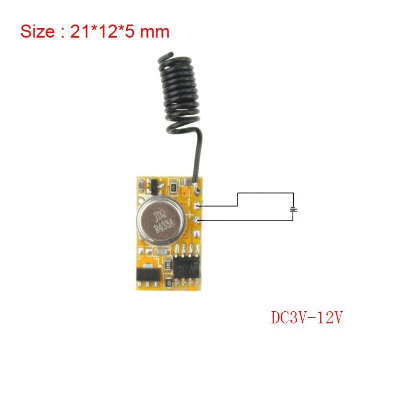 Micro Control remoto DC3V-12V RF transmisor inalámbrico PCB 3V 3,6 V 3,7 V 4,5 V 5V 6V 9V 12V de potencia en la transmisión de 315/433 RC TX 1CH