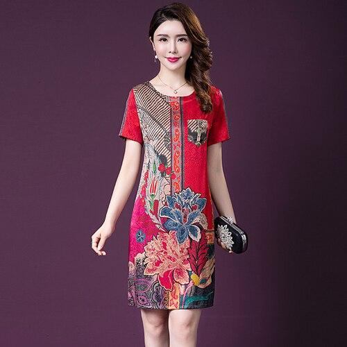 2020 Spring Summer Fashion Short Sleeve Silk Women Dress New Style Big Code Printed Wedding Elegant Temperament Female Dresses