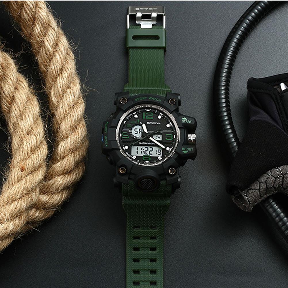 Reloj deportivo de moda para hombre, reloj de pulsera Digital analógico, cronógrafo, calendario de alarma, zonas horarias duales