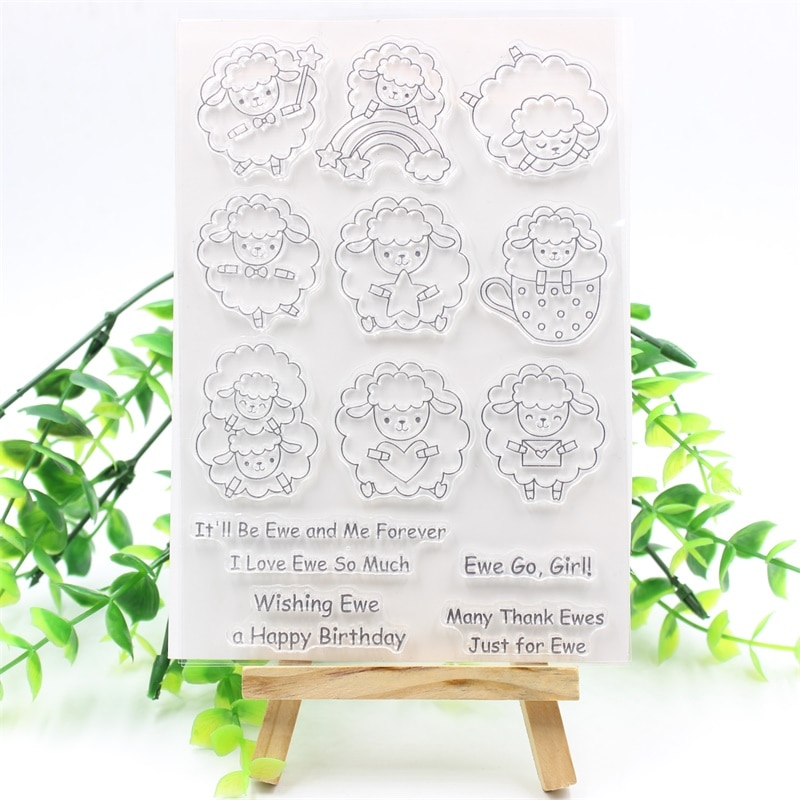 YPP CRAFT bonitos sellos de silicona transparente de oveja para manualidades, álbum de recortes, fabricación de tarjetas, divertidos suministros de decoración para niños 911