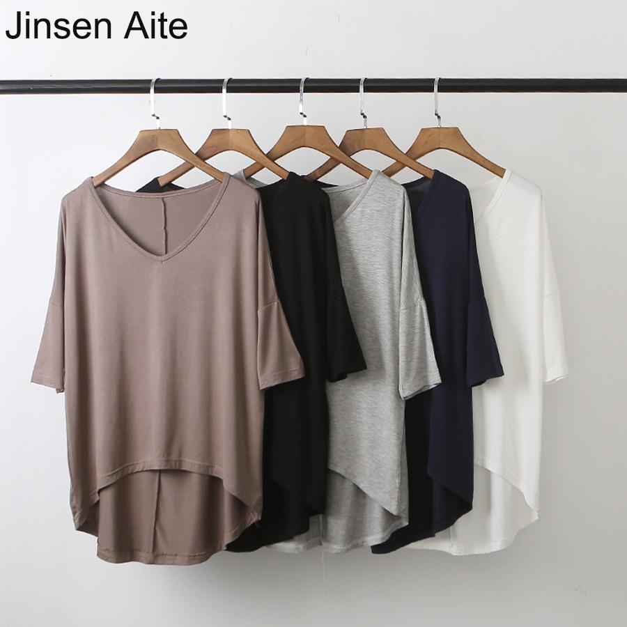 Jinsen Aite mujeres 2019 nueva primavera verano Modal Bat mangas cuello en V camisa suelta Casual Camisa sólida de talla grande Camisetas Mujer JS794