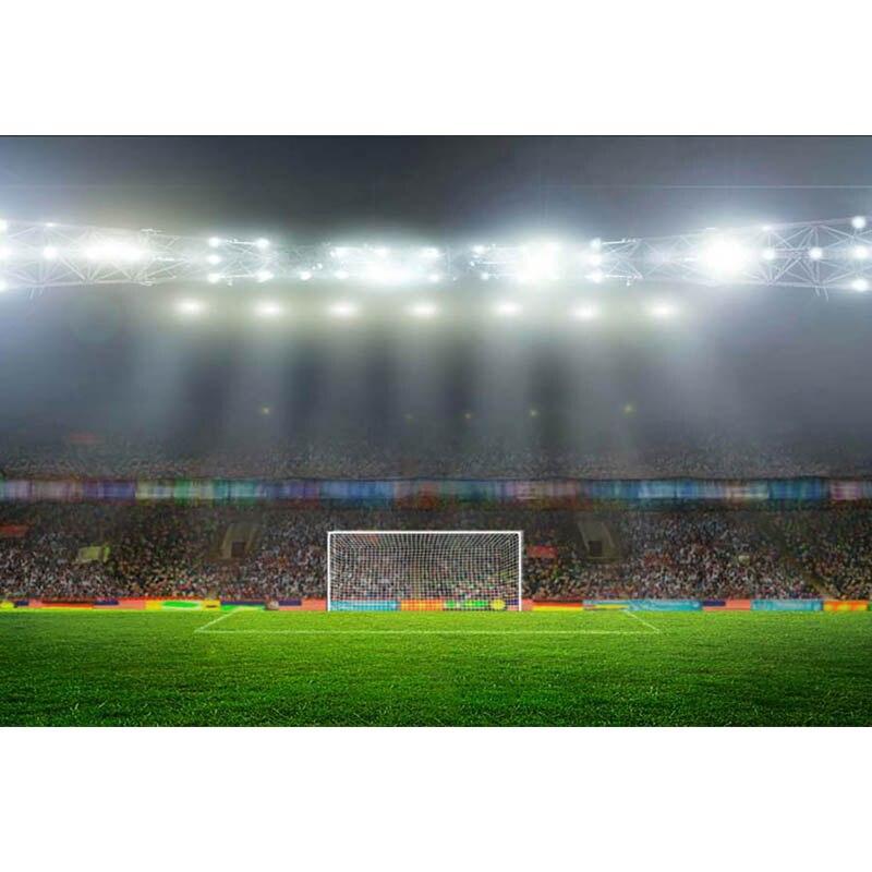 Fondo de campo de fútbol de vinilo para fotografía PLATAFORMA DE público niños foto telón de fondo Booth Studio Props MW-114