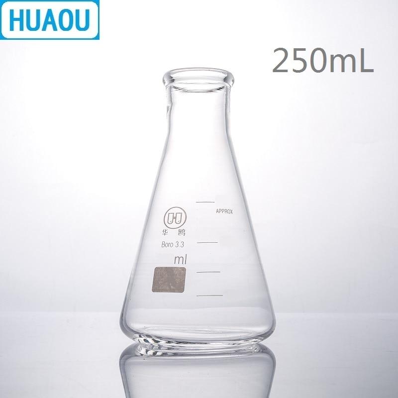 HUAOU 250 мл фляга Erlenmeyer боросиликатное стекло 3,3 узкая горловина коническая треугольная фляга лабораторное химическое оборудование