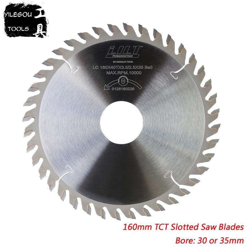 Cuchillas de sierra ranurada TCT de 160mm x 35mm, cuchillas de sierra ranurada TCT, cortador de fresado de 40 dientes para espesor de madera de 2,0 a 6,0mm, diámetro 35mm