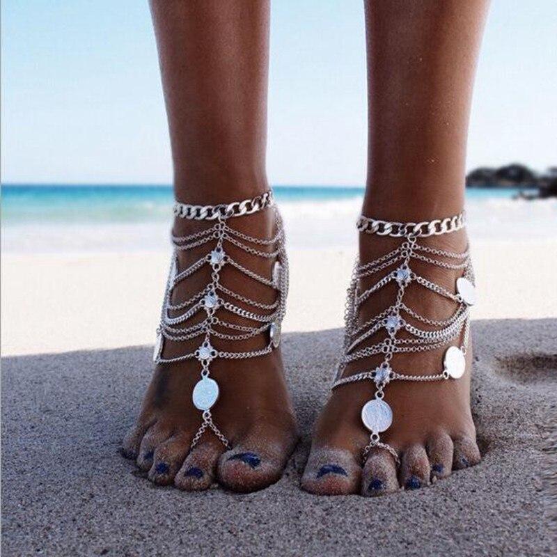 Tobillera de playa estilo bohemio clásico, pulsera de 2020 multicapa con borlas y monedas, tobillera para mujer, cadena de moda, accesorios de joyería